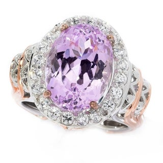 Michael Valitutti Palladium Silver Kunzite & White Zircon Limited Edition Halo Ring