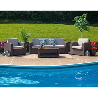 Winston 4-Piece Chocolate Brown All-weather Garden Patio Sofa Set