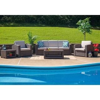 Winston 5-Piece Chocolate Brown All-weather Garden Patio Sofa Set
