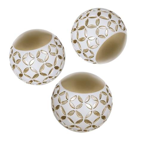 """Schonwerk Diamond Lattice Resin Balls/Orbs Set of 3(White & Gold)3.2"""""""