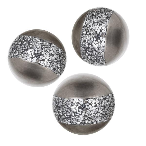 "Schonwerk Silver Resin Balls/Orbs Set of 3 (Crackled Mosaic) 3.2"""