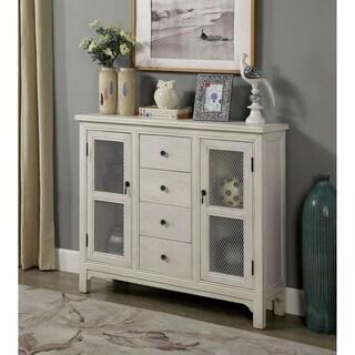 Williams Import Mellette Antique White Finish Rustic Hallway Cabinet