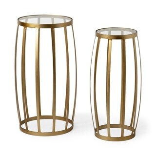 Mercana Silhouette Gold-finish Iron and Glass Accent Tables (Set of 2)