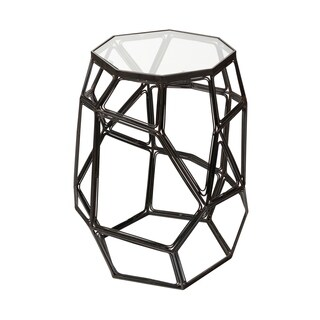 Mercana Tiffoli Matte Metal and Glass Accent Table