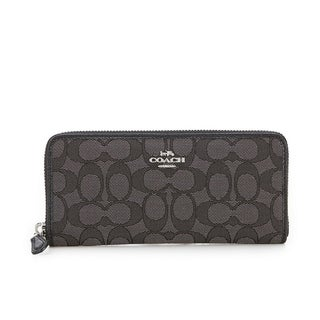 Coach Signature Jacquard Boxed Slim Accordion Zip Wallet Black Smoke