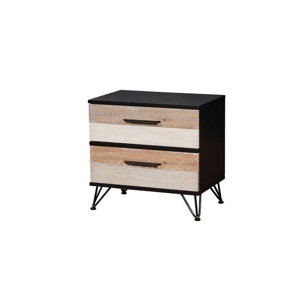 Shop Two Drawer Solid Wood Night Stand With Triple Bar Metal Legs