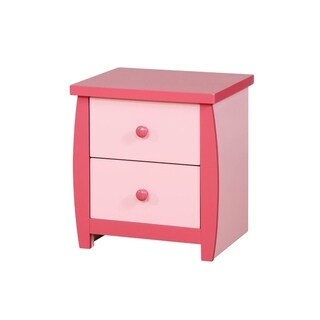 Two Drawer Wooden Nightstand with Round Pull Out Knobs, Pink