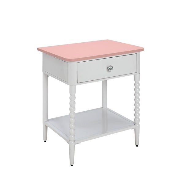 Solid Wood and Metal Nightstand With Spacious Storage, White and Pink