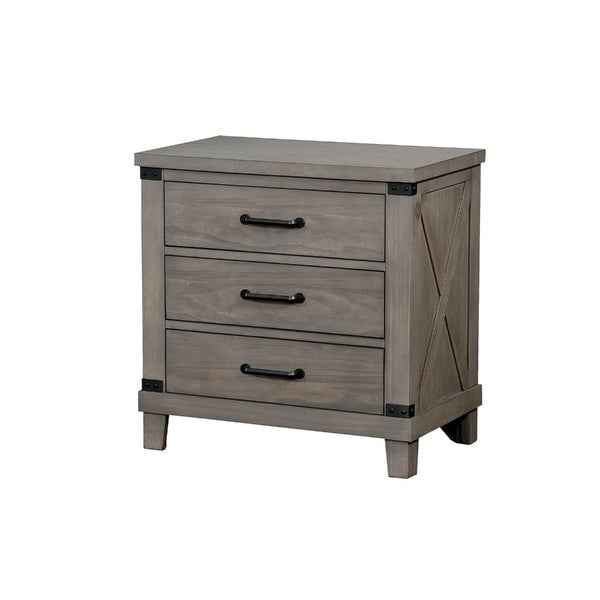 Three Drawer Wood Nightstand with Crossed Planked Side Panels, Gray