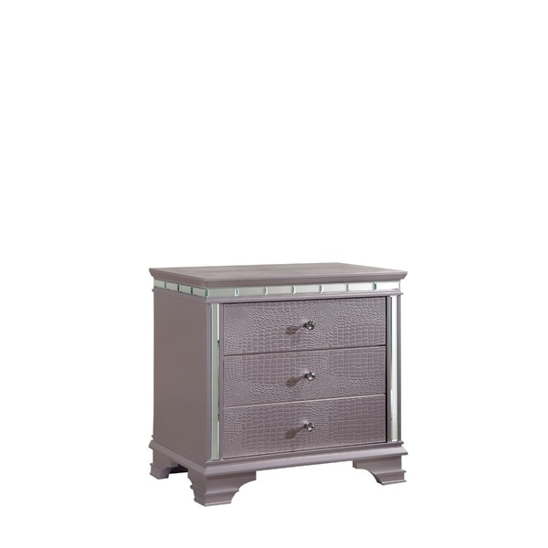 Solid Wood Three Drawer Nightstand with Mirror Accent Trim, Silver