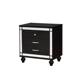 Three Drawer Solid Wood Nightstand with Mirror Accent Trim Front,Black