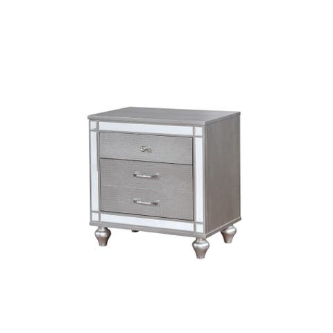 Three Drawer Solid Wood Nightstand with Mirror Trim Front, Silver