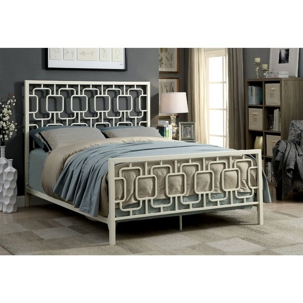 Shop Queen Metal Bed With Geometric Pattern Headboard And