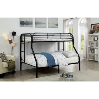 Metal Twin Over Full Bunk Bed with Attached Two Side Ladder, Black