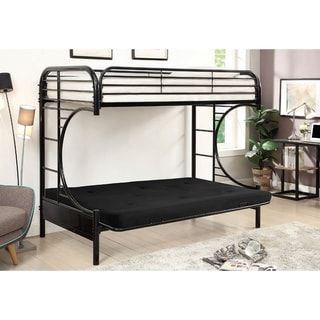 Twin Over Twin Metal Bunk Bed with Side Ladder And C Style Side Rail, Black