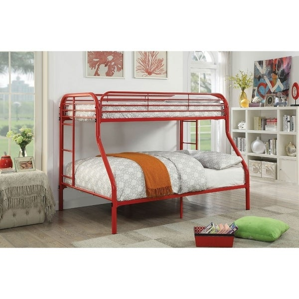 Metal Twin Over Full Bunk Bed with Attached Side Rails And Side Ladders, Red