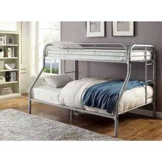 Metal Twin Over Full Bunk Bed with Attached Side Rails And Side Ladders, Silver