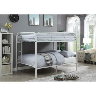 Metal Full Over Full Bunk Bed with Attached Side Rails And Side Ladders, White