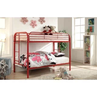 Metal Twin Over Twin Bunk Bed with Attached Side Rails And Side Ladders, Red