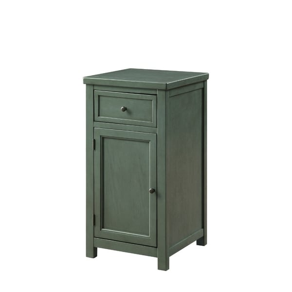 Solid Wood One Drawer And One Door Side Table with Metal Knobs, Green