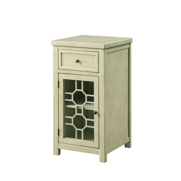 Solid Wood Side Table With Spacious Storage and Cut Out Door Panel, White