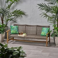 Hampton Outdoor Wood and Wicker Sofa by Christopher Knight Home