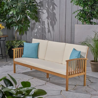 Carolina Outdoor Acacia Wood Sofa with Cushions by Christopher Knight Home