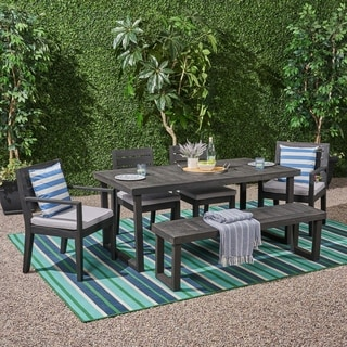 Nestor Outdoor 6-Seater Acacia Wood Dining Set with Bench by Christopher Knight Home