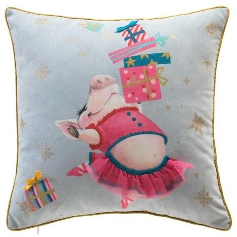 Christmas Piggy Ballerina Pillow