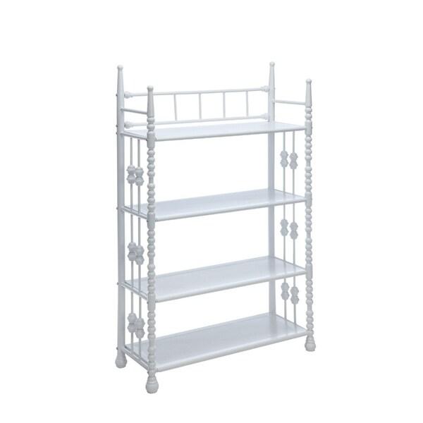 shop four tier metal shelf with beaded side rails white on sale rh overstock com