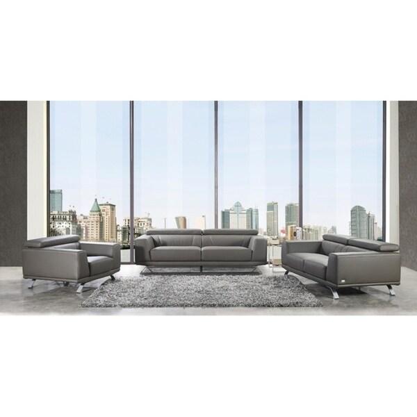 Divani Casa Brustle Modern Dark Grey Eco-Leather Sofa Set