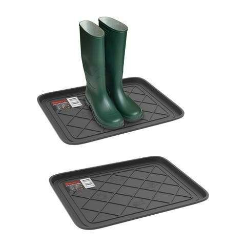 All Weather Boot Tray - Small Water Resistant Plastic Utility Shoe Mat for Indoor and Outdoor Use by Stalwart (Set of Two, Gray)