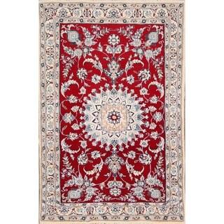 """Traditional Hand Made Nain Isfahan Persian Floral Area Rug Wool - 4'10"""" x 3'2"""""""
