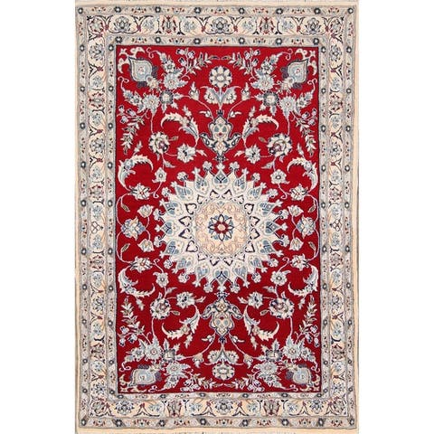 "Traditional Hand Made Nain Isfahan Persian Floral Area Rug Wool - 4'10"" x 3'2"""