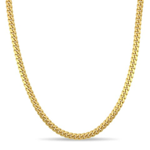 Miadora 10k Yellow Gold 24-Inch Men's Flat Curb Link Chain Necklace
