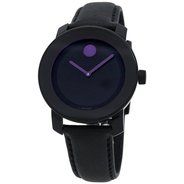 Bold Leather Purple Accents Ladies Watch - Movado 3600528