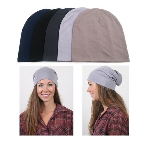 Solid Color Slouchy Jersey Beanie Set in Assorted Colors (5-Pack)