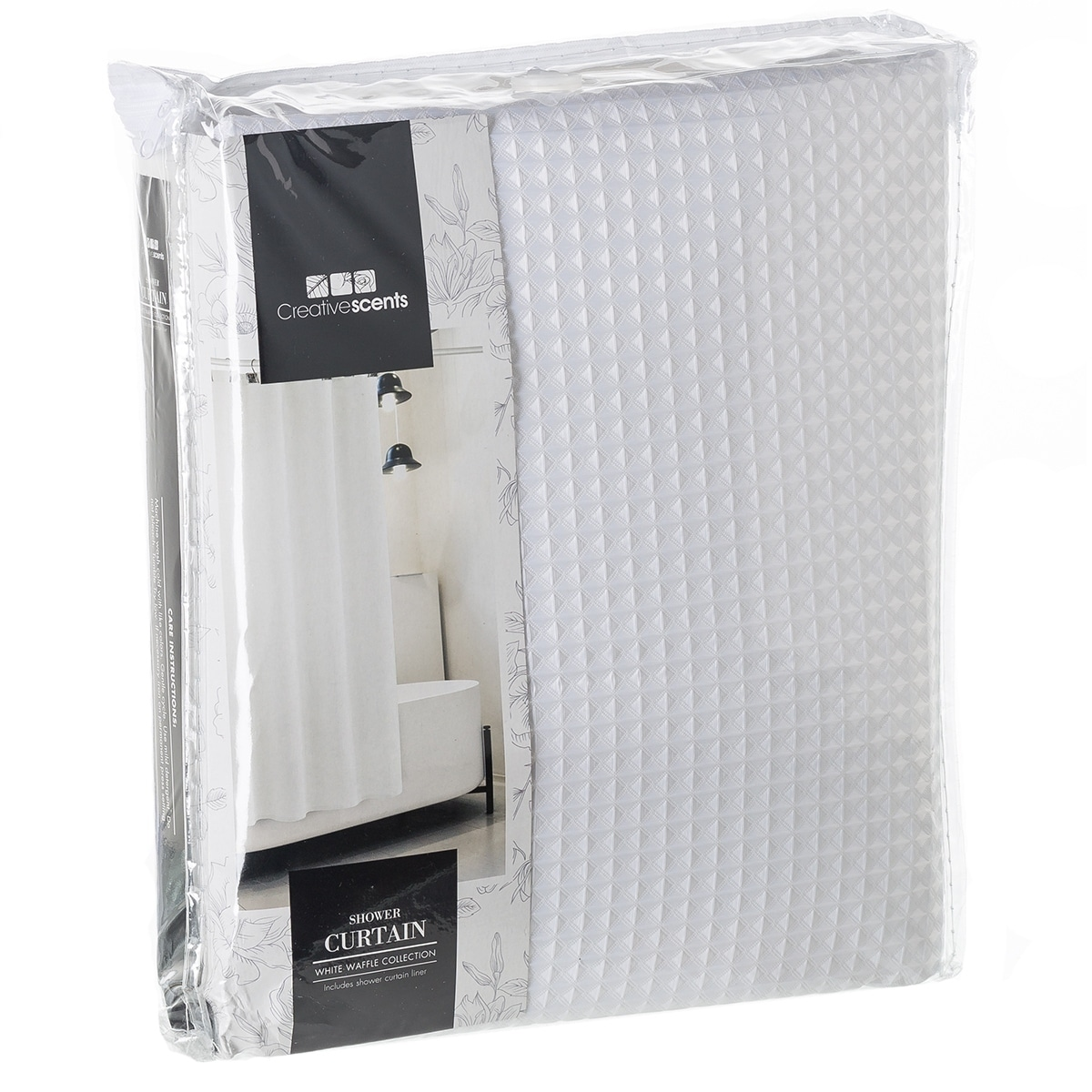 Hotel Quality Waffle White Fabric Shower Curtain Includes Free PEVA Liner