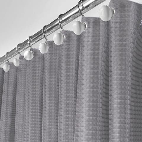 Waffle Shower Curtain Gray - Includes PEVA liner 72x72 inch