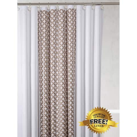 Diamond Lattice Shower Curtain, with Free PEVA Liner, 72 x 72 inch