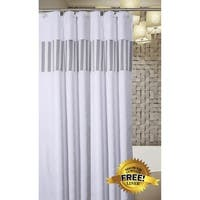 Quilted Mirror Shower Curtain, Includes PEVA Liner, 72 x 72 inch