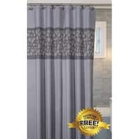 "Brushed Nickel Shower Curtain with FREE PEVA Liner 72"" x 72"" (Silver)"
