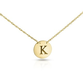 Annello by Kobelli Personalized Initial Pendant 14k Yellow Gold