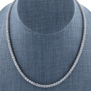 Annello by Kobelli 18k White Gold One of a Kind 15 Carats TGW Moissanite Tennis Necklace