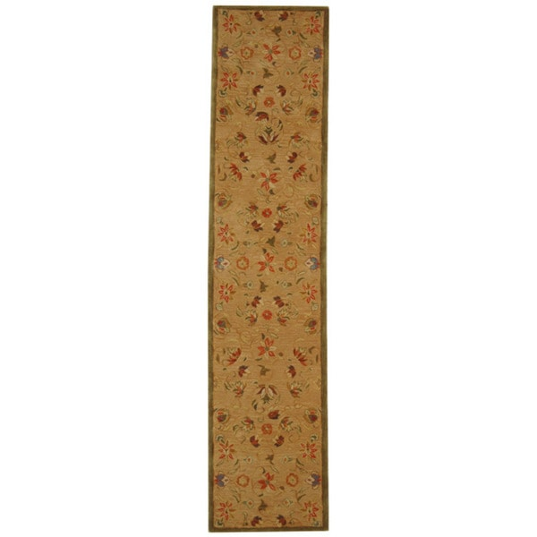 Safavieh Handmade Anatolia Oriental Traditional Beige Hand-spun Wool Runner (2'3 x 10')