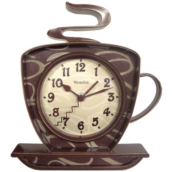 "Westclox 8"" Analog Quartz Coffee Cup Brown Wall Clock 32038. Opens flyout."