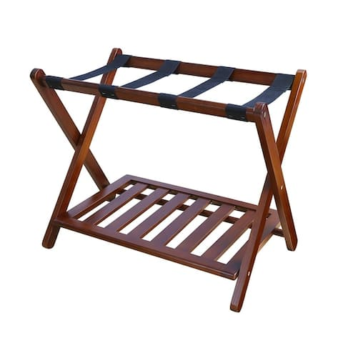 Stony-Edge Luggage Rack Suitcase Stand for Guest Room with Shelf