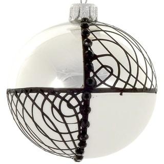 """4  Pc Set  B & W 4"""" ornaments"""