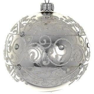 "4  Pc Set  Shiny Silver 4"" ornaments"