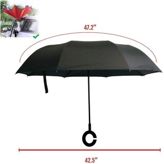 Windproof Double Layer Folding Reversible Inverted Umbrella Sun Proof